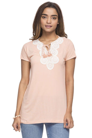 Cottonworld Women's Tshirts WOMEN'S 100% VISCOSE PEACH REGULAR FIT TSHIRT