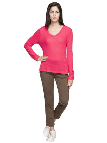Cottonworld Women's Tshirts WOMEN'S 100% VISCOSE PINK REGULAR FIT TSHIRT