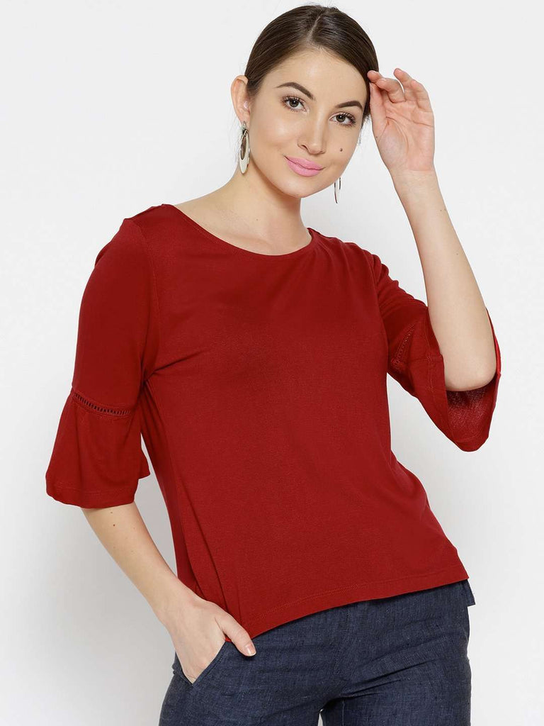 Cottonworld Women's Tshirts WOMEN'S 100% VISCOSE RED REGULAR FIT TSHIRT