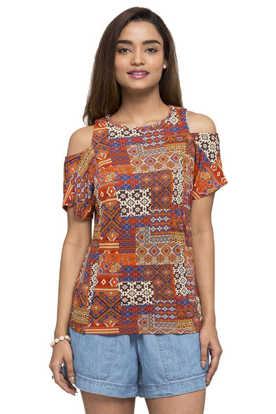 Women's Viscose Rust Color Tshirt Cottonworld Women's Tshirts