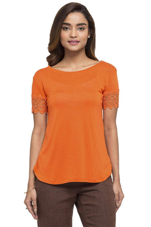 Cottonworld Women's Tshirts WOMEN'S 100% VISCOSE RUST SLIM FIT TSHIRT