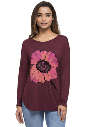 Cottonworld Women's Tshirts WOMEN'S 100% VISCOSE WINE REGULAR FIT TSHIRT