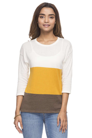 Cottonworld Women's Tshirts WOMEN'S 50% COTTON 50% MODAL MUSTARD REGULAR FIT TSHIRT