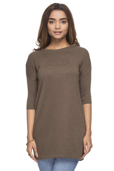 Cottonworld Women's Tshirts WOMEN'S 50% COTTON 50% MODAL OLIVE REGULAR FIT TSHIRT