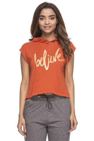 Cottonworld Women's Tshirts WOMEN'S 50% COTTON 50% MODAL RUST REGULAR FIT TSHIRT