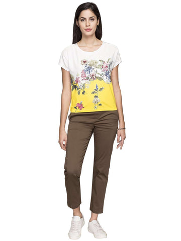 Cottonworld Women's Tshirts WOMEN'S 50% COTTON 50% VISCOSE OFFWHITE REGULAR FIT TSHIRT