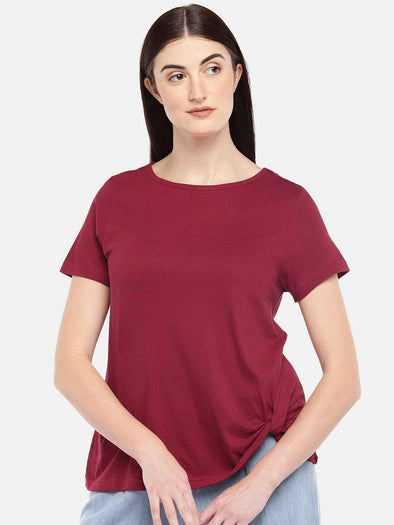 Cottonworld Women's Tshirts WOMEN'S 50% COTTON 50% VISCOSE RUST REGULAR FIT TSHIRT