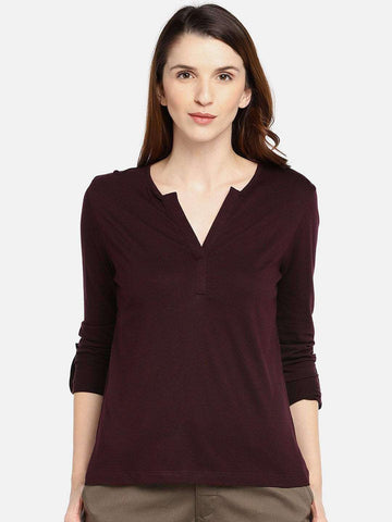Cottonworld Women's Tshirts WOMEN'S 50% COTTON 50% VISCOSE WINE REGULAR FIT TSHIRT
