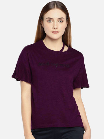 Cottonworld Women's Tshirts WOMEN'S 50% COTTON 50% VISCOSE WINE SLIM FIT TSHIRT
