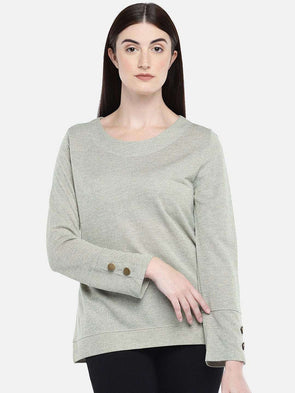 Cottonworld Women's Tshirts WOMEN'S 80% VISCOSE 20% LUREX GREY MELAN REGULAR FIT TSHIRT