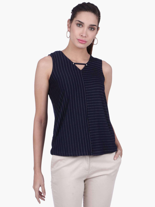 Women's Viscose Polyster Elastane Navy Regular Fit Tank Top Cottonworld Women's Tshirts