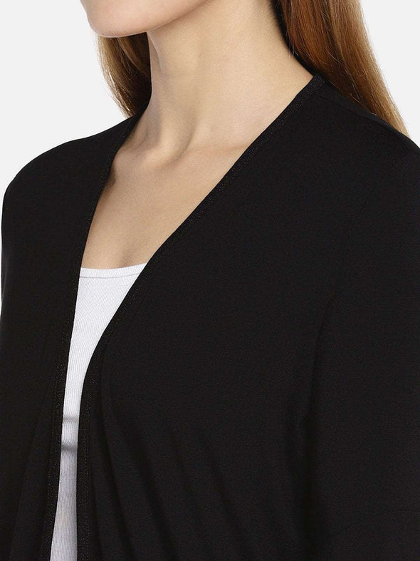 Women's Viscose Elastane Black Regular Fit Shrug Cottonworld Women's Tshirts