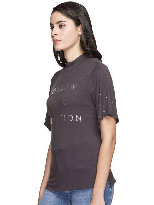 Cottonworld Women's Tshirts WOMEN'S 95% VISCOSE 5% ELASTANE GREY REGULAR FIT TSHIRT