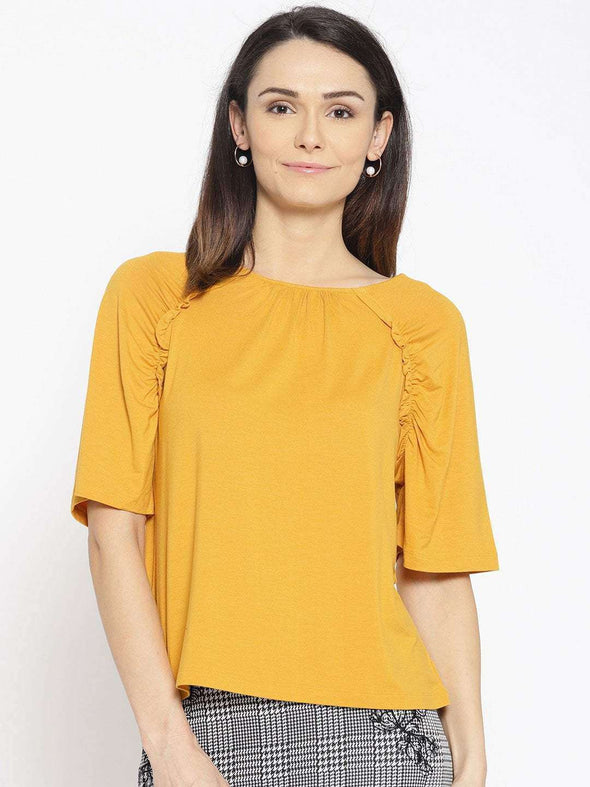 Women's Viscose Elastane Mustard Regular Fit Tshirt Cottonworld Women's Tshirts