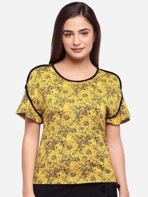 Cottonworld Women's Tshirts WOMEN'S 95% VISCOSE 5% ELASTANE MUSTARD REGULAR FIT TSHIRT