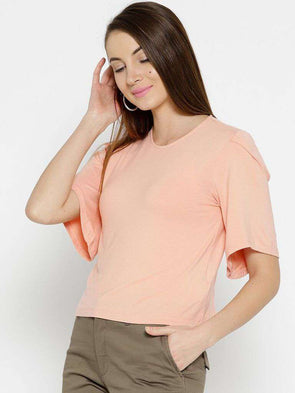 Women's Viscose Elastane Peach Regular Fit Tshirt Cottonworld Women's Tshirts