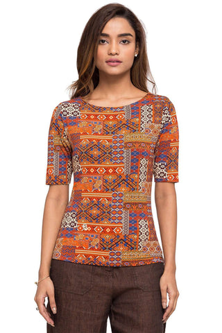 Cottonworld Women's Tshirts WOMEN'S 95% VISCOSE 5% ELASTANE RUST REGULAR FIT TSHIRT