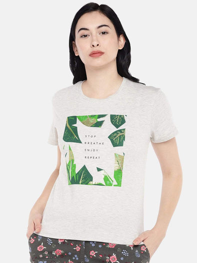 Women's Cotton Ecru Melan Regular Fit Tshirt Cottonworld Women's Tshirts