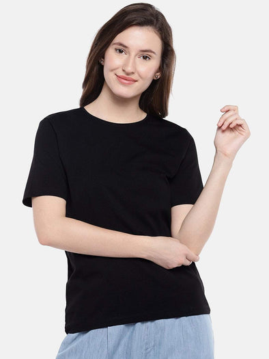 Women's Cotton Elastane Black Regular Fit Tshirt Cottonworld Women's Tshirts