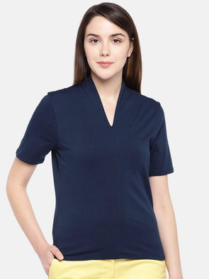 Cottonworld Women's Tshirts Women's Cotton Elastane Navy Regular Fit Tshirt