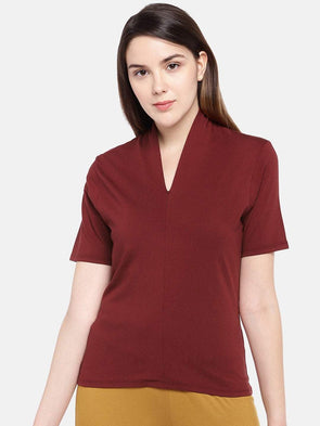 Cottonworld Women's Tshirts Women's Cotton Elastane Red Regular Fit Tshirt