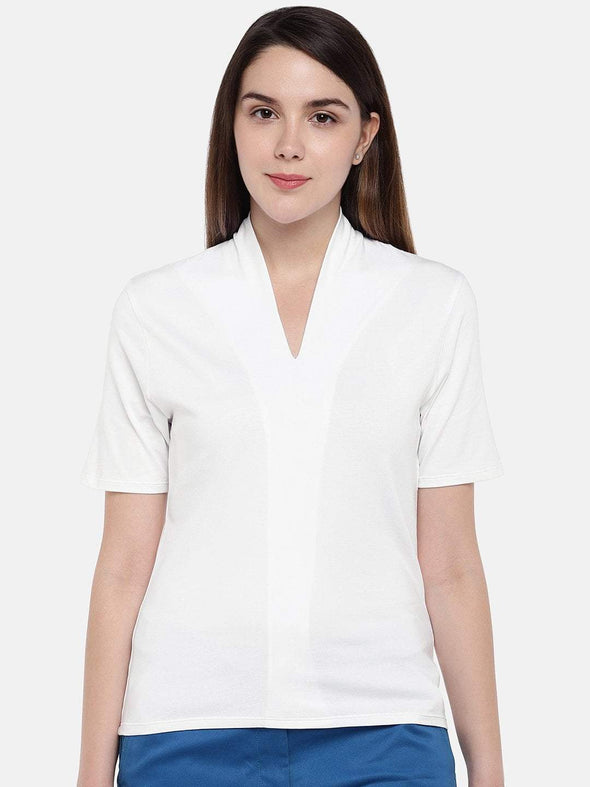 Women's Cotton Elastane White Regular Fit Tshirt Cottonworld Women's Tshirts