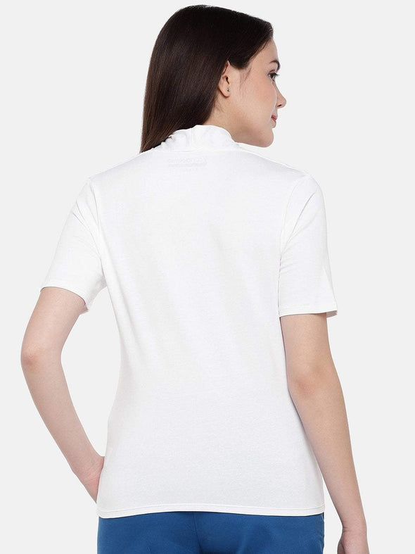 Cottonworld Women's Tshirts Women's Cotton Elastane White Regular Fit Tshirt