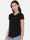 Women's Cotton Knit Black Regular Fit Tshirt Cottonworld Women's Tshirts
