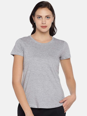 Women's Cotton Knit Grey Melan Regular Fit Tshirt Cottonworld Women's Tshirts