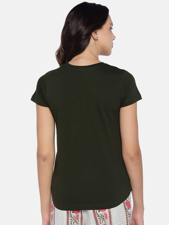 Women's Cotton Knit Olive Regular Fit Tshirt Cottonworld Women's Tshirts