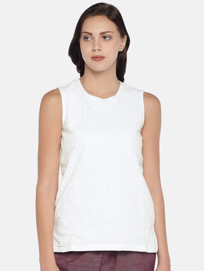 Women's Cotton Knit White Regular Fit Kvest Cottonworld Women's Tshirts