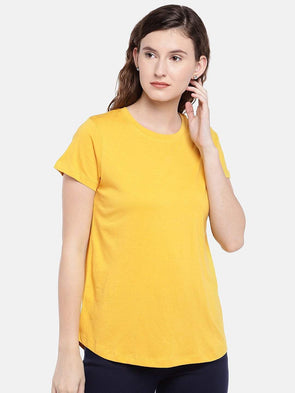 Cottonworld Women's Tshirts Women's Cotton Mustard Regular Fit Tshirt