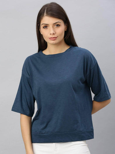 Cottonworld Women's Tshirts Women's Cotton Navy Regular Fit Tshirt