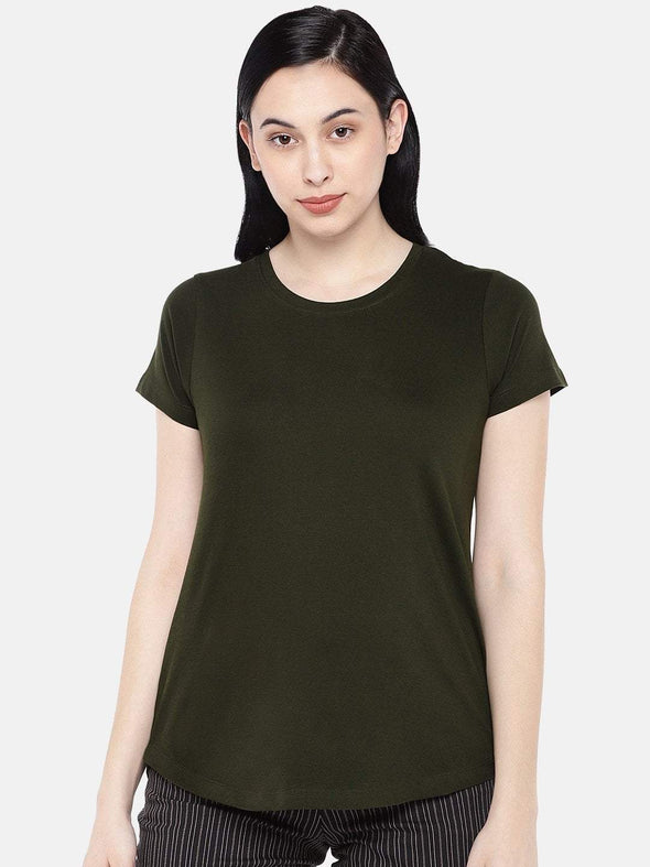 Women's Cotton Olive Regular Fit Tshirt Cottonworld Women's Tshirts
