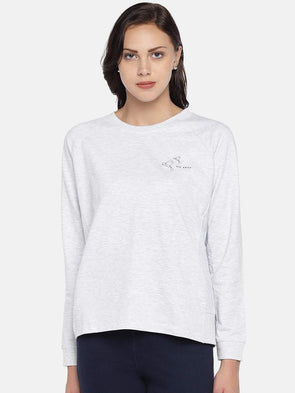 Women's Cotton Polyster Knit Ecru Melan Regular Fit Tshirt Cottonworld Women's Tshirts