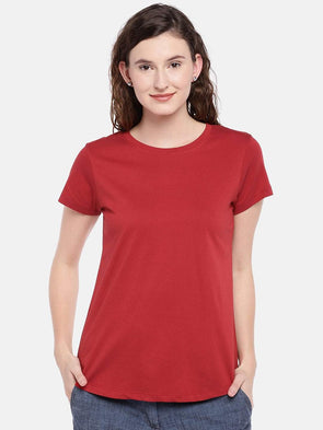Cottonworld Women's Tshirts Women's Cotton Red Regular Fit Tshirt