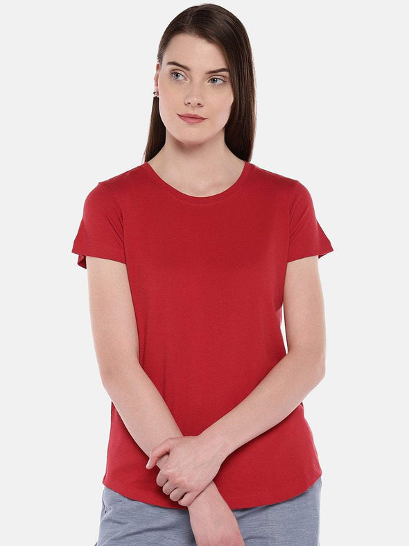 Women's Cotton Red Regular Fit Tshirt Cottonworld Women's Tshirts