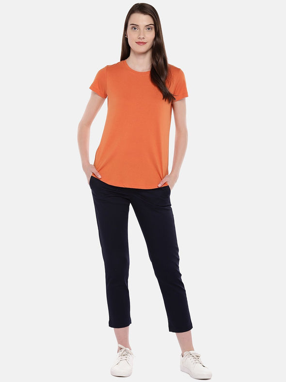 Cottonworld Women's Tshirts Women's Cotton Rust Regular Fit Tshirt