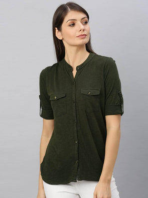 Women's Cotton Viscose Olive Regular Fit Tshirt Cottonworld Women's Tshirts