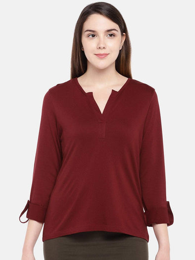 Cottonworld Women's Tshirts Women's Cotton Viscose Red Regular Fit Tshirt