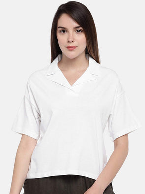 Women's Cotton White Regular Fit Tshirt Cottonworld Women's Tshirts
