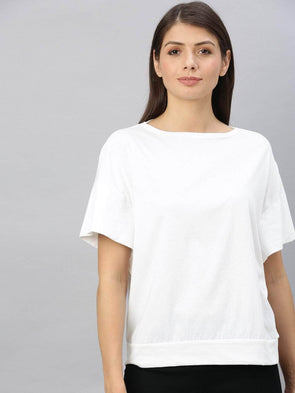 Cottonworld Women's Tshirts Women's Cotton White Regular Fit Tshirt