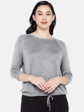 Women's Modal Grey Melan Regular Fit Tshirt Cottonworld Women's Tshirts