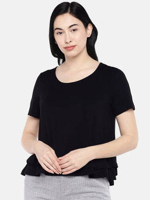 Women's Viscose Elastane Black Regular Fit Tshirt Cottonworld Women's Tshirts