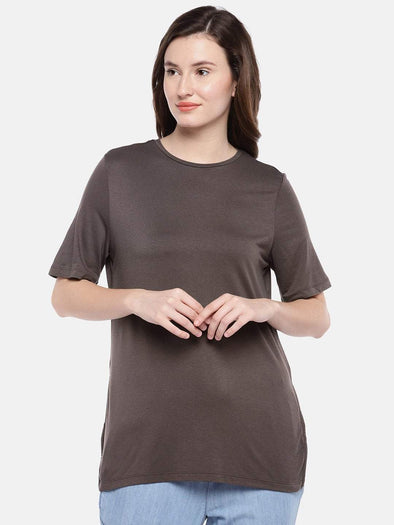 Cottonworld Women's Tshirts Women's Viscose Elastane Brown Regular Fit Tshirt