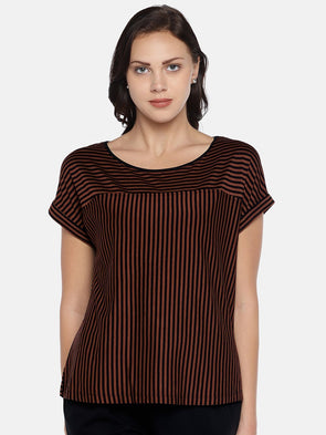 Women's Viscose Elastane Knit Brown Regular Fit Tshirt Cottonworld Women's Tshirts
