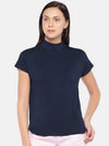 Women's Viscose Elastane Navy Regular Fit Tshirt Cottonworld Women's Tshirts