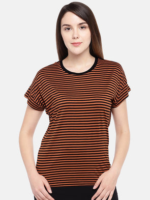 Cottonworld Women's Tshirts Women's Viscose Elastane Rust Regular Fit Tshirt