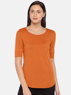 Women's Viscose Elastane Rust Regular Fit Tshirt Cottonworld Women's Tshirts