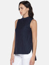 Women's Viscose Polyster Elastane Knit Navy Regular Fit Tshirt Cottonworld Women's Tshirts